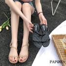 PAPORA簡約繞腳平底涼鞋KB48黑/卡其