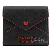 茱麗葉精品【全新現貨】 MIU MIU 5MH014 Forever 信封型扣式短夾.黑/紅