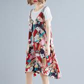大碼女裝胖mm減齡夏裝短袖T恤+吊帶雪紡連衣裙時尚休閒套裝兩件套