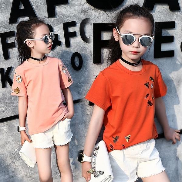 衣童趣(•‿•)韓版 中大女童 時尚個性款百搭T 休閒熱賣款刺繡 短袖圓領上衣