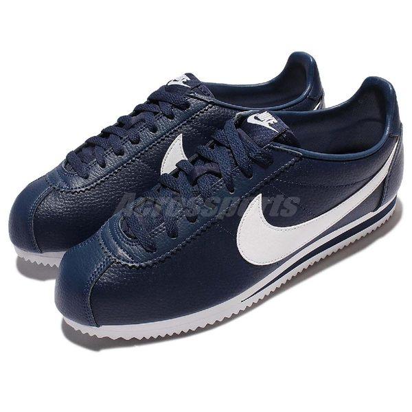 Nike 阿甘鞋 Classic Cortez Leather 深藍 白 復古 皮革 慢跑鞋 男鞋 女鞋 【PUMP306】 749571-414