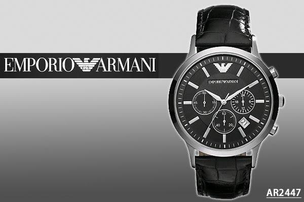 【時間道】[ARMANI。錶]亞曼尼帥氣時尚三眼咖啡皮腕錶 –黑面(AR2447)免運費