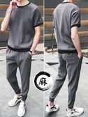 夏季短袖冰絲t恤男士套裝韓版潮流寬鬆休閒夏天亞麻衣服男裝夏裝  【PINKQ】
