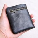 錢包男迷你小錢包男士手工超薄軟皮皮夾皮質錢包短版拉練搭扣