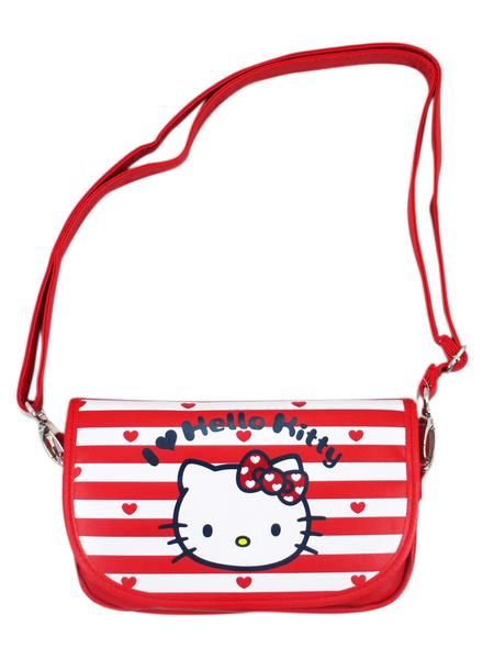【卡漫城】 Hello Kitty 可觸控 條紋大臉 皮革 肩背包 ㊣版 斜背 手機包 萬用 外出包 化妝包 側背