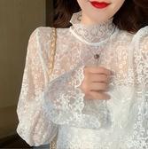 蕾絲打底衫秋冬新款半高領蕾絲打底衫女洋氣網紗精致內搭繡花小衫喇叭袖上衣 夏季新品
