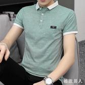Polo衫男士短袖T恤夏季棉質韓版修身有領上衣服青年個性潮流大碼翻領衫LXY7431【極致男人】
