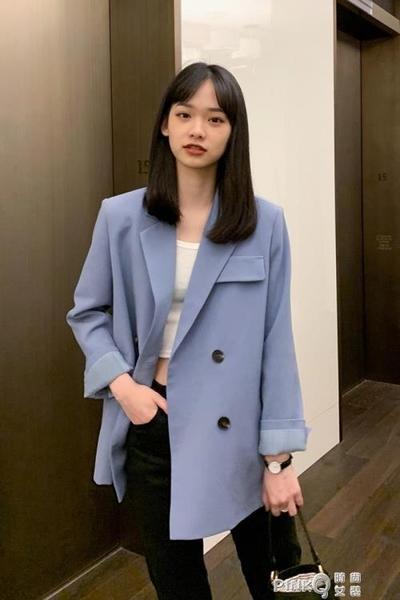 小西服2020網紅秋季新款韓版顯瘦寬鬆休閒西裝外套女INS藍色上衣  (pink Q 時尚女裝)