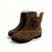 韓版   花朵 刷毛馬靴《7+1童鞋》A731 銀灰色