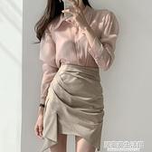 韓國chic氣質顯瘦高腰設計感包臀A字型不規則條紋半身裙短裙女 中秋節全館免運