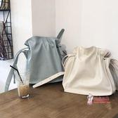 水桶包 春夏新款韓國簡約純色pu女包百搭抽繩單肩水桶包休閒氣質斜背大包 2色