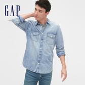 Gap男裝做舊水洗牛仔長袖襯衫536746-水洗淡靛藍