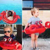 網紅充氣兒童泳圈卡通螃蟹男女孩幼兒座圈坐騎加厚游泳坐圈-ifashion