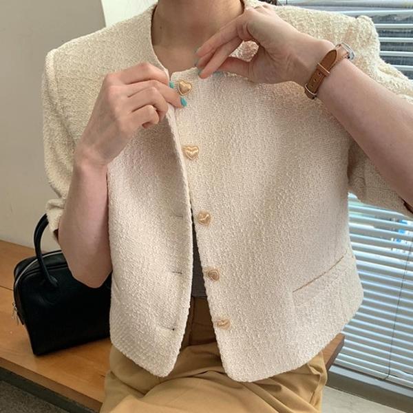 韓國CHIC夏季溫柔圓領別致愛心紐扣寬松休閑百搭短袖粗呢小外套女