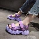 網紅運動涼鞋女ins潮夏季2021年新款超火厚底鬆糕魔術貼沙灘涼鞋 依凡卡時尚