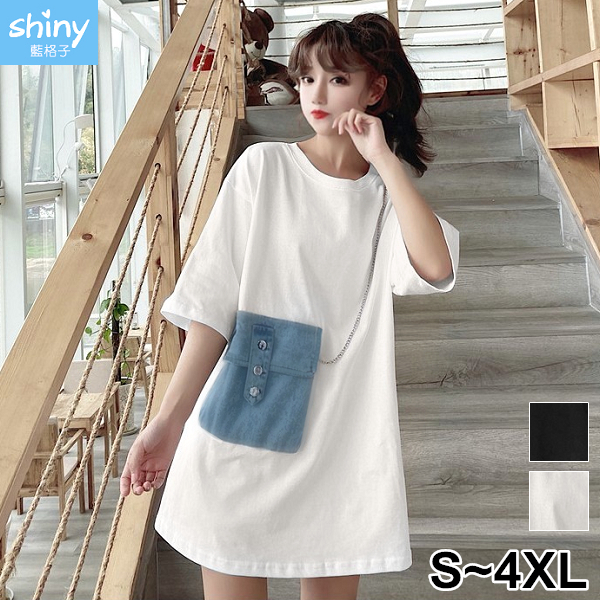 【V3353】shiny藍格子-裝點時尚.拼接牛仔小包寬鬆短袖上衣