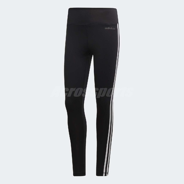 adidas 長褲 Design 2 Move 3-Stripes High-Rise Long Tights 緊身褲 黑 女款 【ACS】 DU2040