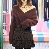 【GZ82】秋冬新款韓國V領露肩毛衣女  仿貂絨毛茸茸套頭針織衫上衣