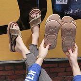 新品涼拖鞋 網紅水鉆小熊涼拖鞋女 季新款韓版百搭時尚外穿厚底一字拖