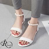 個性時尚簡約OL珍珠裝飾一字扣平底涼鞋/4色/35-43碼 (RX0591-M203-25) iRurus 路絲時尚