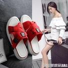 網紅涼拖鞋女外穿夏防滑時尚百搭厚底沙灘潮2020新款女士坡跟拖鞋 印象家品