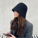 帽子女秋冬韓版潮牌百搭顯臉小漁夫帽日系網紅針織羊毛盆帽水桶帽一米陽光