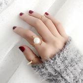 韓國簡約氣質百搭學生珍珠關節戒指女食指裝飾指環女個性飾品潮人 滿天星