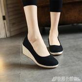 復古中式素色老北京布鞋繡花鞋亞麻高跟牛筋底休閒鞋女鞋 格蘭小舖