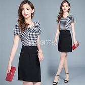 2021夏季新款韓版顯瘦收腰通勤氣質包臀裙女緊身假兩件格子洋裝 快速出貨