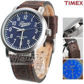 TIMEX 天美時 夜光顯示 美式風格 皮帶壓紋腕錶 咖啡x藍色 男錶 TXT2P96600