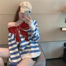 VK精品服飾 韓國風拼色條紋閃鑽刺繡蝴蝶結百搭長袖上衣