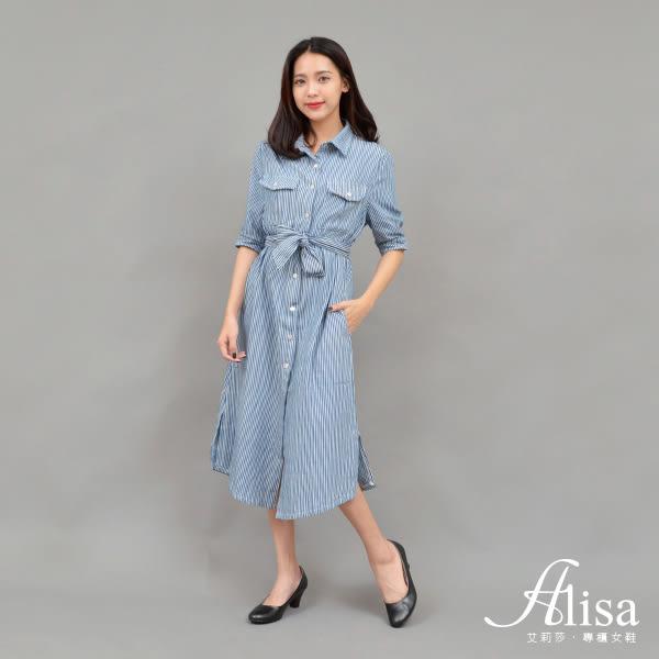 專櫃女鞋 素面尖頭真皮粗跟鞋-艾莉莎Alisa【03A6501】