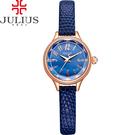 JULIUS 聚利時 霓光序曲立體切割面皮錶帶腕錶-寶藍色/24mm 【JA-932D】