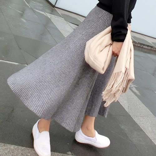 長裙 素雅直坑紋大裙擺針織長裙 艾爾莎【TAE4619】