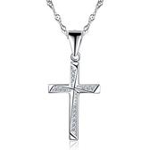 項鍊+925純銀 鑲鑽吊墜-氣質十字架生日情人節禮物女飾品73gu6【時尚巴黎】