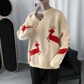 毛衣港風情侶裝小鹿慵懶風毛衣男韓版寬松圣誕針織衫外套潮【快速出貨】