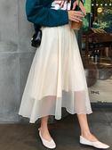 秋裝裙子女2018新款簡約高腰寬鬆純色半身裙韓版中長款學生雪紡裙『摩登大道』