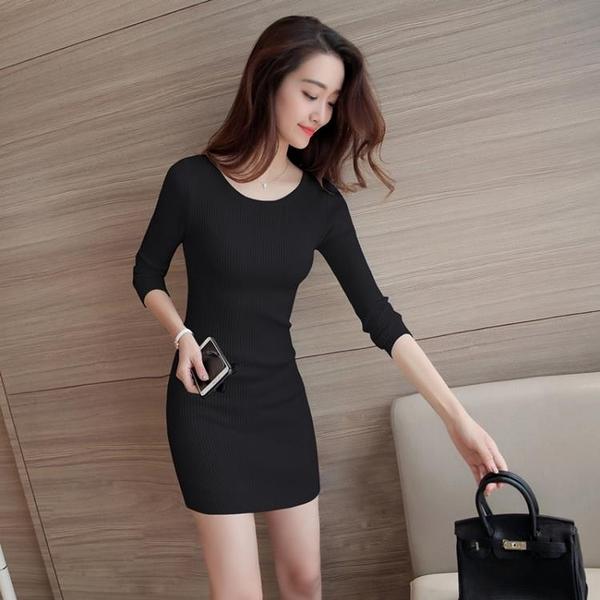 針織洋裝女秋冬新款毛衣裙百搭彈力修身顯瘦外穿內搭打底小黑裙 korea時尚記