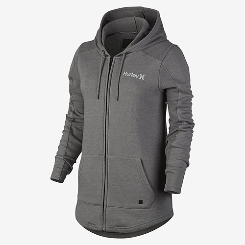 Hurley SEASIDE FLEECE ZIP 連帽外套-女(灰)