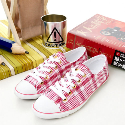 CONVERSE 淑女帆布鞋--SLIM--粉桃格紋--1102W170075 -- 女
