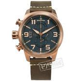elegantsis / ELJT48MQS-OB01LC / 復古軍事 藍寶石水晶玻璃 防水100米 真皮手錶 藍x古銅金框x褐 46mm