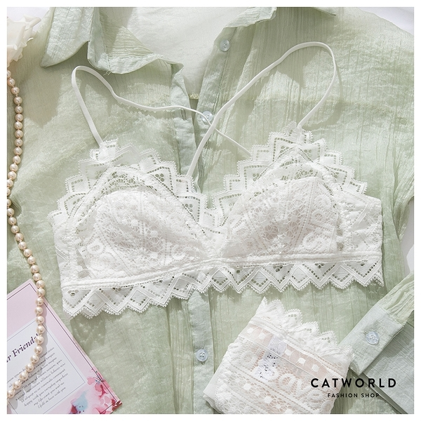 Catworld 夜戀土耳其。薄款無鋼圈細肩幾何蕾絲內衣組(白)【18808804】‧70-85AB通杯