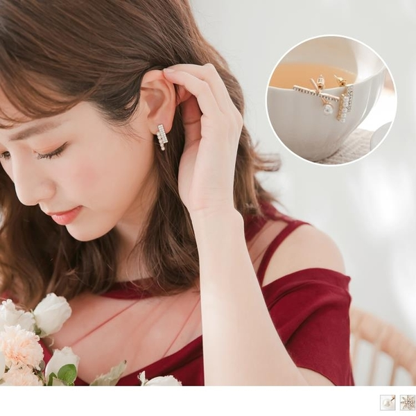 《ZC1916》臧芮軒。三件組微奢質感珍珠亮鑽套裝式耳環 OrangeBear