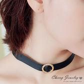 仿皮革金屬圓環造型頸鍊 頸圈  【櫻桃飾品】【10496】