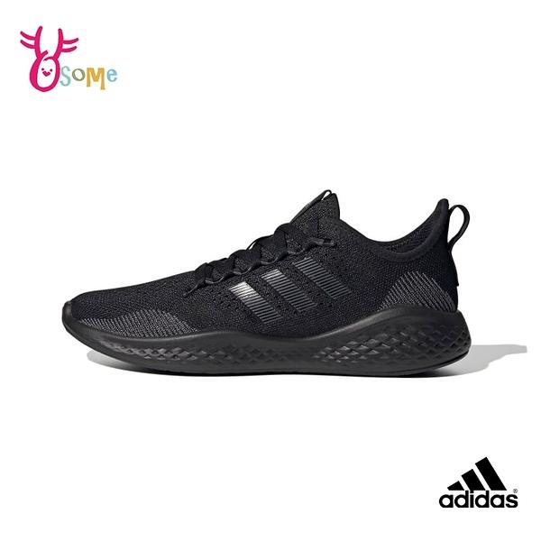 adidas跑步鞋 男鞋 FLUIDFLOW 2.0 透氣運動鞋 全黑運動鞋 慢跑鞋 耐磨底 跑鞋 T9326#黑色◆奧森