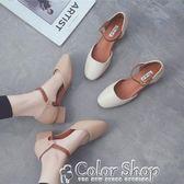 方頭女單鞋中跟春新款韓版杏色淺口一字扣帶粗跟中空涼鞋女夏color shop