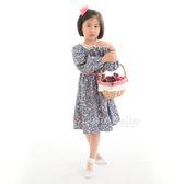 Cutie Bella簍空蕾絲領 長袖縮口 綁帶印花洋裝-Dark Blue-Wild Flower&Leaves 深藍底野花樹葉 (140CM)