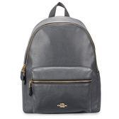 COACH 馬車LOGO荔枝紋皮革前口袋大後背包(深藍灰)195320-1