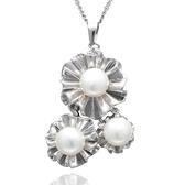 項鍊 925純銀 珍珠吊墜-唯美花朵生日情人節禮物女飾品73dh23【時尚巴黎】