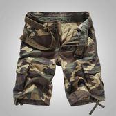 夏季男休閒短褲寬鬆迷彩短褲直筒五分褲工裝短褲中褲潮大碼沙灘褲
